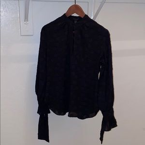 Ann Taylor Georgette Blouse with Tie Sleeves